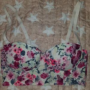 H&M Bustier Balconette Floral Lace Bra